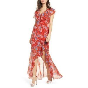 WAYF Floral Red Ruffle Maxi Dress